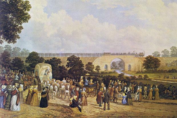 Eröffnung der ersten öffentlichen Eisenbahn in England im Jahr 1825