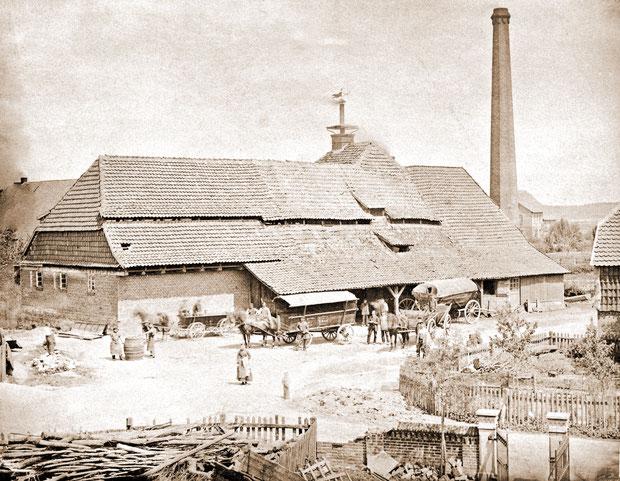 Das Brauereigebäude um 1880 vor dem Umbau
