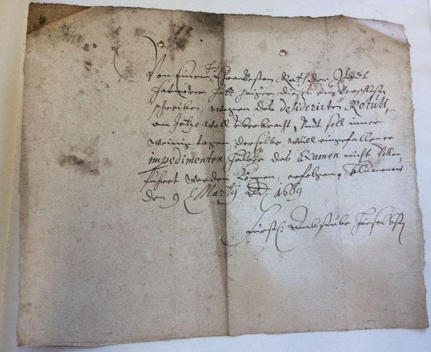 Zulassung zum Broyhanzapfen aus dem Jahr 1669 (Stadtarchiv Hannover: 1.AA.2.01 Nr. 4168)