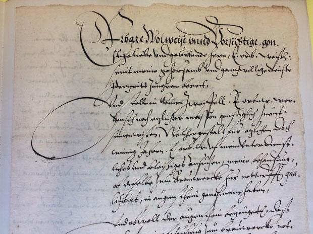 Antrag auf Zulassung als Broyhan-Brauer aus dem Jahr 1591 (Stadtarchiv Hannover: 1.AA. 2.01 Nr. 4128)