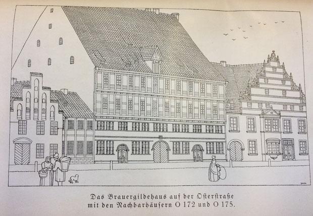 Das Brauergildehaus in der Osterstraße (Stadtarchiv Hannover: HGB 1926 Seite104)