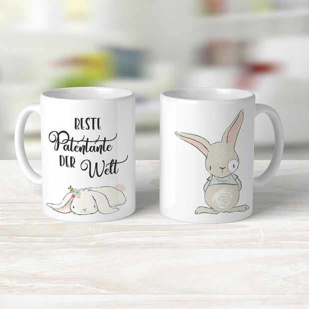 Bedruckte Tasse für die Patentante Geschenke Taufe und Geburt
