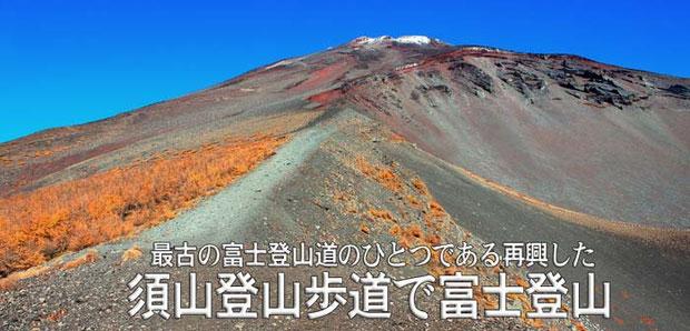 宝永第2火口脇の須山登山歩道から第1火口、山頂を仰ぐ *裾野市北限地 標高2193m地点