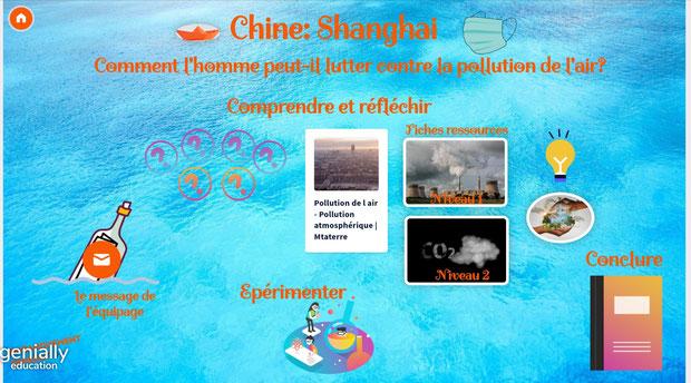 Tara Océan Echos d'escale genially Chine Shanghai Pollution air cycle2 cycle3 CE2 CM1