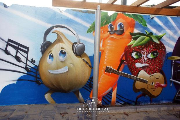Airbrush und Comic Graffiti auf Begrenzungsmauer