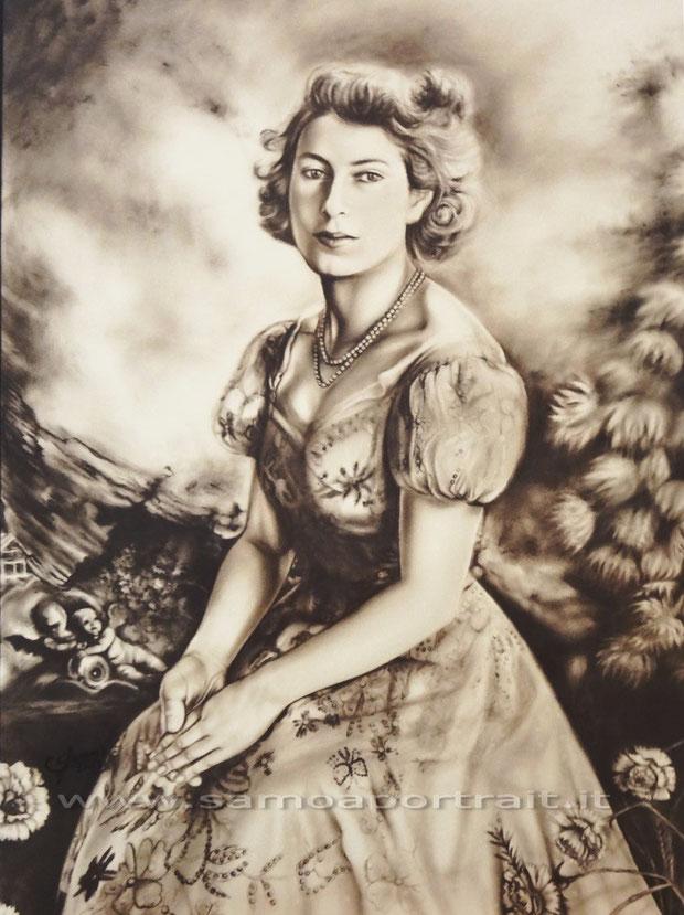 HER MAJESTY QUEEN ELISABETH II, Dry Brush Seppia 56x70 cm