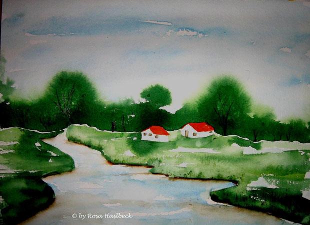 aquarell, landschaft, landschaftsaquarell, bäume, fluß, bach, wald, grün, rot, blau, bild, kunst   kaufen, bilder, malerei, malen, deko, dekoration, wandbilder, wand, geschenkidee, geschenke,malen, malerei, handgemalt,