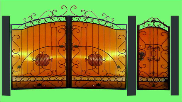 Ворота обшитые поликарбонатом