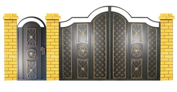 Металлические кованые ворота.