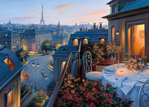 ночной город Париж