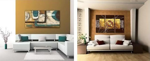 Оформление стен картинами