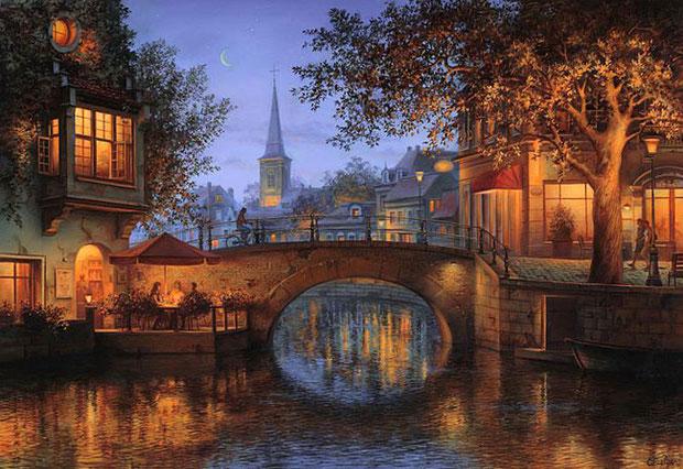ночной город Амстердам