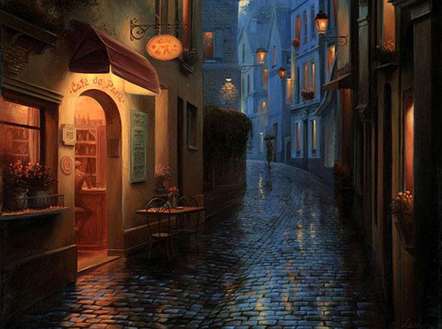ночной город Прага
