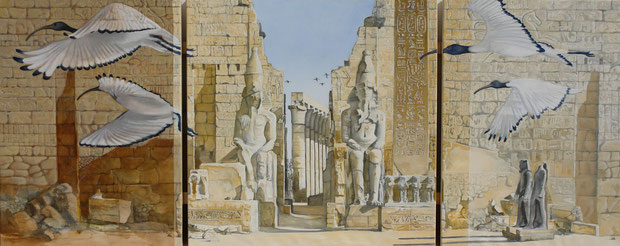 Ibeses alight upon Luxor - oil and graphite on canvas - 214 x 90 cm