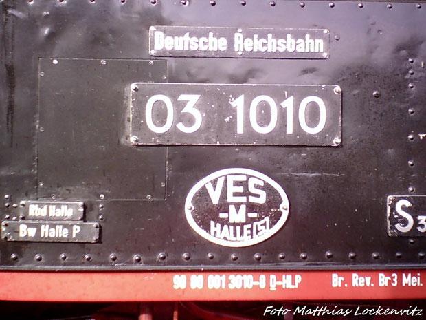 Loknummer & Deutsche Reichsbahnschilder Der 03 1010
