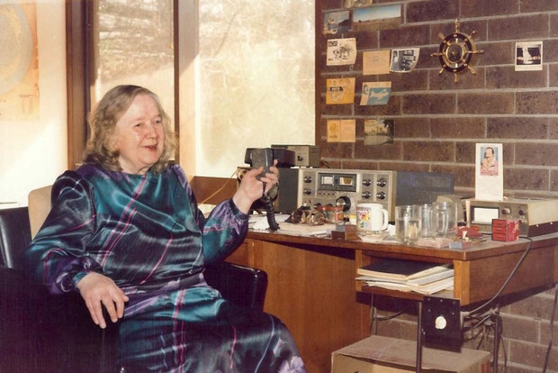 Late 1980s - Melbourne. Clarice with her short-wave radio at home. Photo taken by Anthony Zois