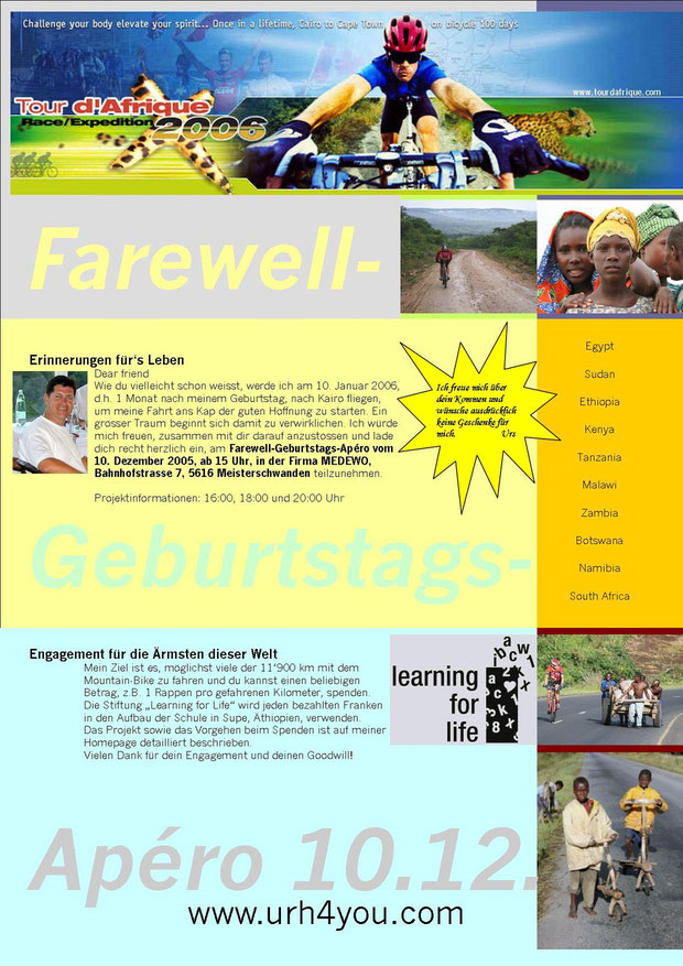 Farewell Party 2005 vor dem Start zur Tour d'Afrique 2006