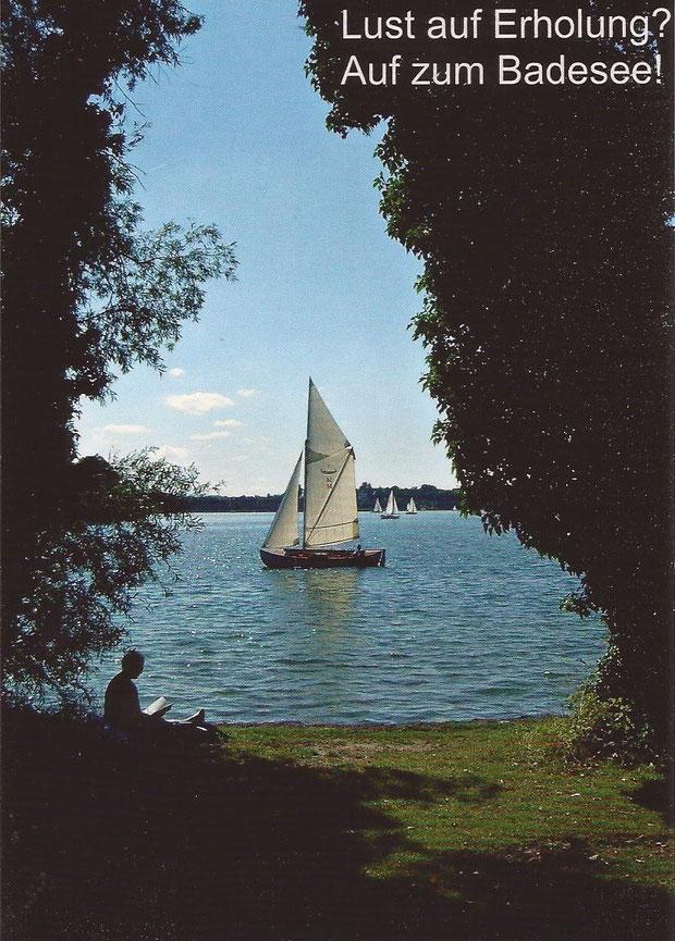 See Schiff Boot Wasser Lesen Bielefeld Obersee Untersee Johannissee Vision Badesee Natur blau grün