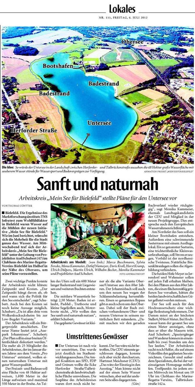 """Artikel aus der """"Neuen Westfälischen"""" vom 6.7.2012"""