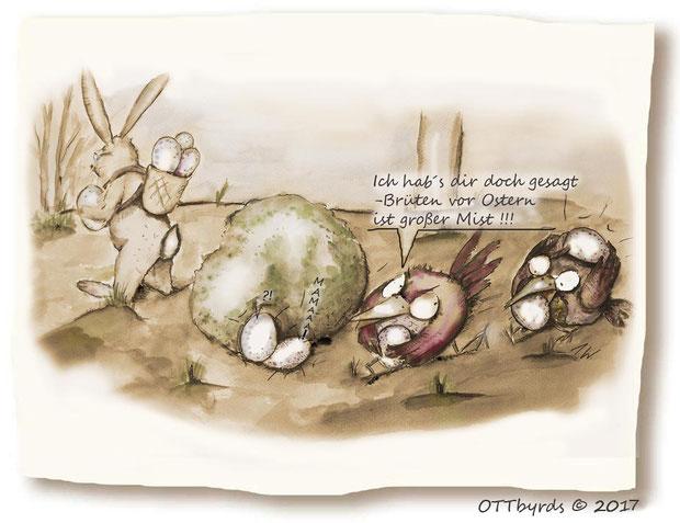 Ostern,cartoons,ostercartoons, ottbyrds, brutverhalten, fortpflanzung, ostereier