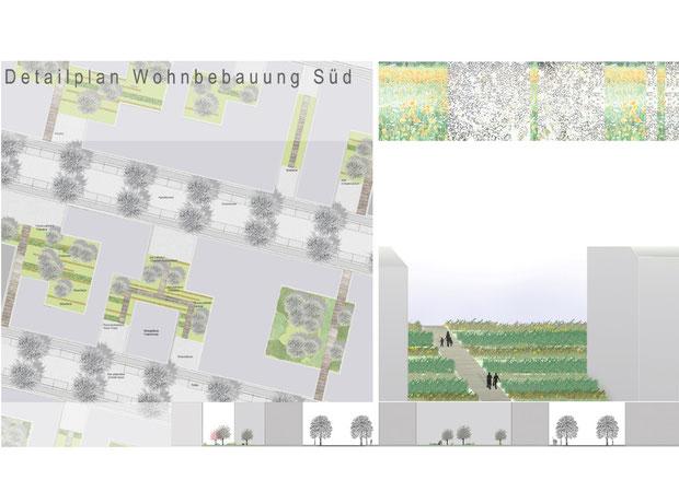 Vertiefungsbereich, Wohnbebauung Süd