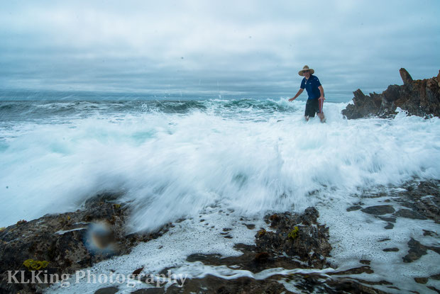 braving the icy Pacific in Montana De Oro