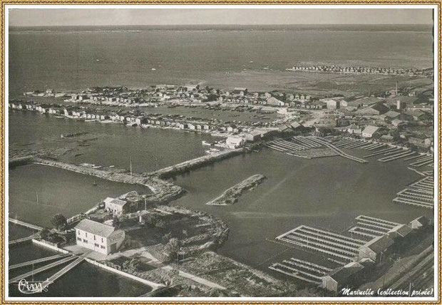 Gujan-Mestras autrefois : Vue aérienne avec l'ancienne Huîtrerie Daycard, les anciens réservoirs, le Port de Larros, Bassin d'Arcachon (carte postale, collection privée)
