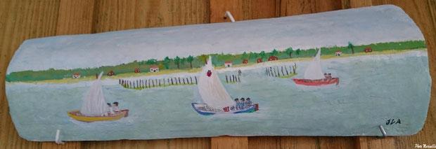"""JLA Artiste Peintre - """"Régate de pinasses à voile"""" 028 - Peinture sur tuile ostréicole (Bassin d'Arcachon)"""