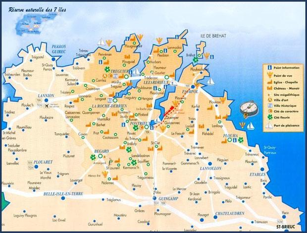 Carte Pays du Trégor-Goëlo (Bretagne, Côtes d'Armor)