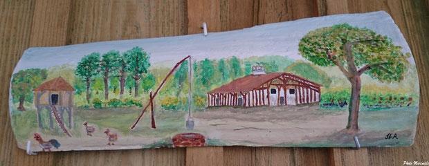 """JLA Artiste Peintre - """"Ferme landaise dans son airial"""" 009 - Peinture sur tuile ostréicole"""