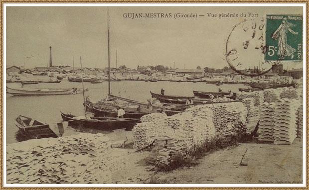 Gujan-Mestras autrefois : entre 1914-1920, darse principale du Port de Larros (avec le moulin en fond à droite), Bassin d'Arcachon (carte postale, collection privée)