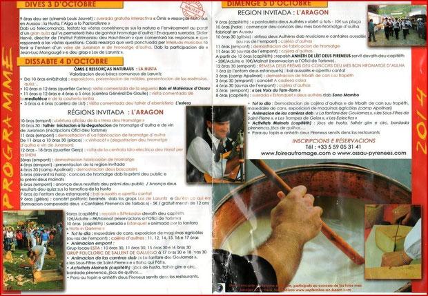 Programme de la Fête au Fromage 2014, Hera deu Hromatge, à Laruns en Vallée d'Ossau (64) - version Béarnaise