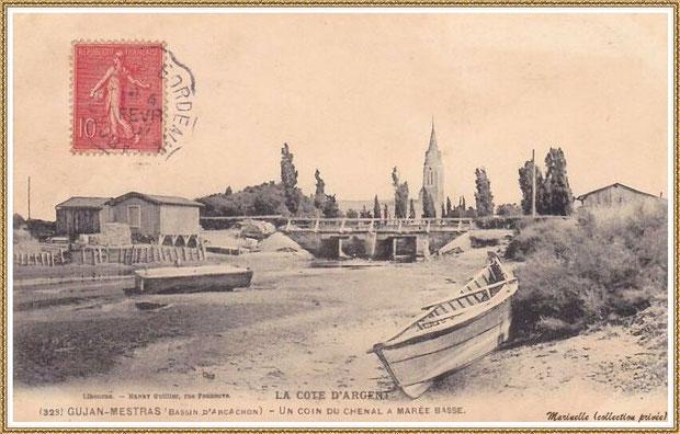 Gujan-Mestras autrefois : en 1907, le chenal du Port de Gujan (ex Port de la Passerelle) à marée basse, Bassin d'Arcachon (carte postale, collection privée)