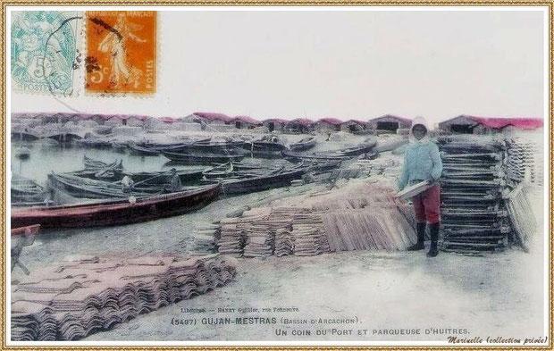 Gujan-Mestras autrefois : en 1908, parqueuse dans la darse principale du Port de Larros, Bassin d'Arcachon (carte postale, collection privée)