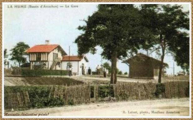 ujan-Mestras autrefois : la 1ère gare de La Hume, Bassin d'Arcachon (carte postale, collection privée)
