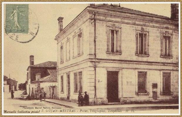 Gujan-Mestras autrefois : angle rue Jules Barat et Edmont Daubric, l'ancienne Poste (aujourd'hui Bibliothèque Municipale), Bassin d'Arcachon (carte postale, collection privée) - autre vue