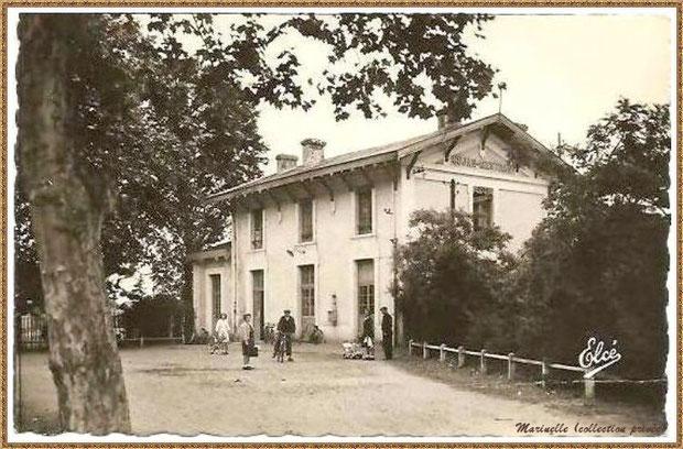 Gujan-Mestras autrefois : façade de la gare, Bassin d'Arcachon (carte postale, collection privée)