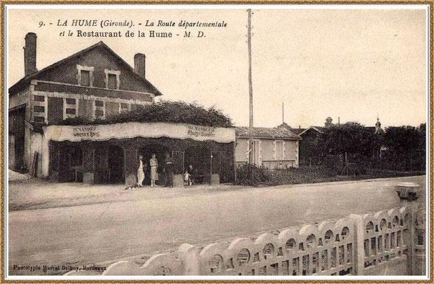 """Gujan-Mestras autrefois : le """"Restaurant de La Hume"""", Route Départementale, Bassin d'Arcachon (carte postale, collection privée)"""