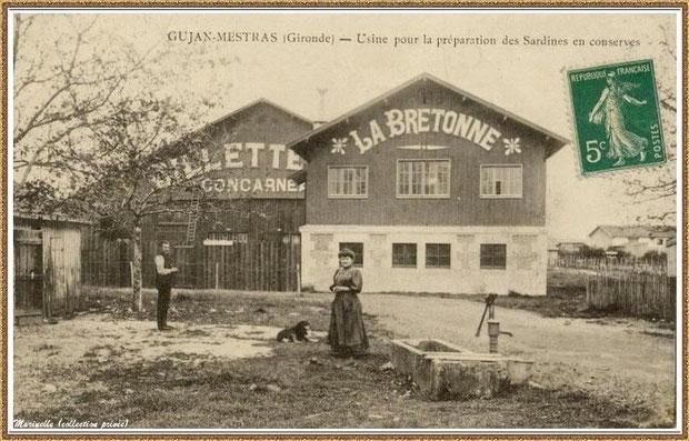 """Gujan-Mestras autrefois : Usine-Conserverie de sardines """"Billette & Cie, La Bretonne"""" au Port du Canal, Bassin d'Arcachon (carte postale, collection privée)"""