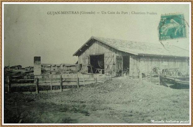 Gujan-Mestras autrefois : en 1910, Chantier Naval Pradère au Port de Larros, Bassin d'Arcachon (carte postale, collection privée)