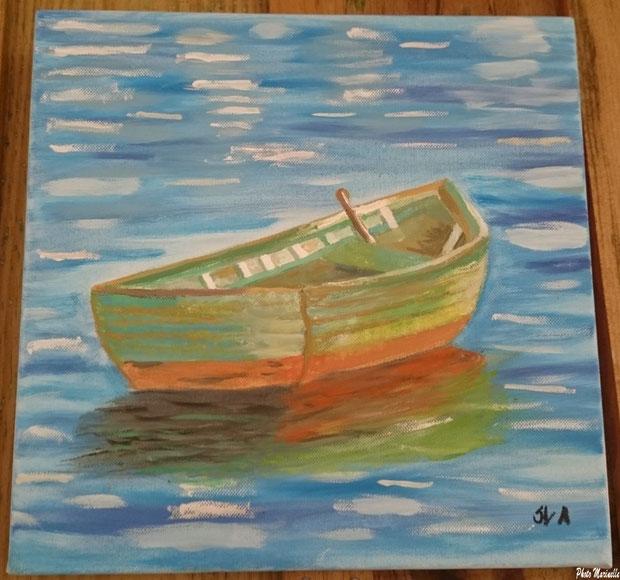 """JLA Artiste Peintre - """"Canot en mer"""" 036 - Peinture sur toile"""