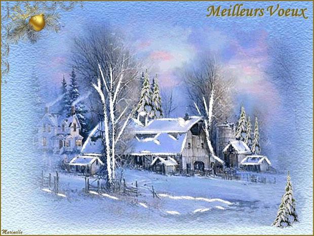 Meilleurs voeux, paysage sous la neige