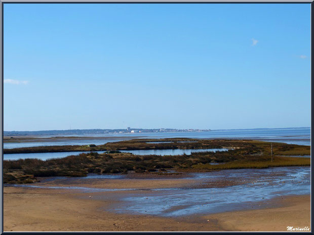 La plage, tonnes pour la chasse avec leur lac à tonne et Arcachon à l'horizon, Sentier du Littoral, secteur Moulin de Cantarrane, Bassin d'Arcachon