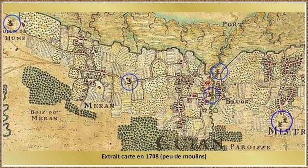 Gujan-Mestras autrefois : carte des moulins existant en 1708, Bassin d'Arcachon (carte, collection privée)
