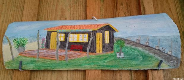 """JLA Artiste Peintre - """"La Cabane à Ludo au Port du Canal"""" 003 - Peinture sur tuile ostréicole (Bassin d'Arcachon)"""