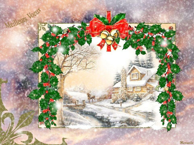 Meilleurs voeux : guirlande de houx et paysage de neige