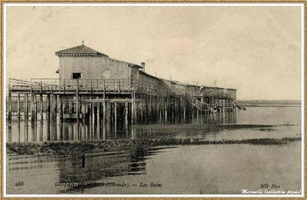 Gujan-Mestras autrefois : L'Etablissement de Bains au Port de Gujan (ex Port de la Passerelle), Bassin d'Arcachon (carte postale, collection privée)