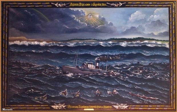 """Tableau """"Pêcheurs sardiniers surpris par la tempête"""" du 3 janvier 1904, à la mairie de Gujan-Mestras, Bassin d'Arcachon (33)"""