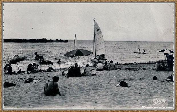 Gujan-Mestras autrefois : la plage de La Hume, voiliers, baignade, Bassin d'Arcachon (carte postale, collection privée)