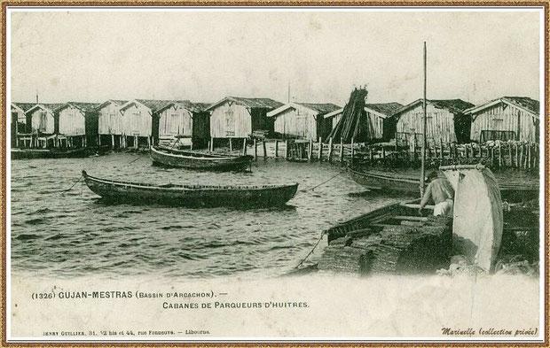 Gujan-Mestras autrefois : vers 1910, Port de Larros, darse face au Port de La Passerelle,  avec cabanes sur pilotis et pinassottes, Bassin d'Arcachon (carte postale, collection privée)